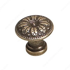 Louis XV 11/16 Inch Diameter Burnished Brass Cabinet Knob