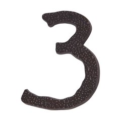 Hammered House Number Three Aged Bronze <small>(#HN3L-O)</small>