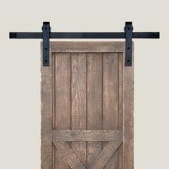 Acorn Manufacturing Basic Barn Door Rolling Hardware & 8' Track Smooth Iron BH1BI-8