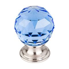 Crystal 1-1/8 Inch Diameter Blue Crystal Cabinet Knob <small>(#TK123BSN)</small>
