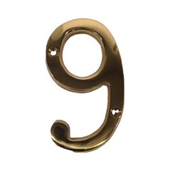"""6"""" House Number """"9"""" Bright Brass <small>(#BN6-9-605)</small>"""