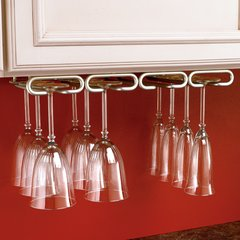 "Quad Stemware Holder 11"" D - Satin Nickel"