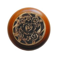 Floral 1-1/2 Inch Diameter Antique Brass Cabinet Knob <small>(#NHW-726C-AB)</small>