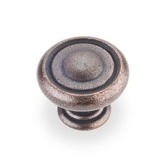 Bremen 1 1-1/4 Inch Diameter Dark Machined Antique Copper Cabinet Knob