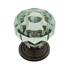 Design Facets 1-1/4 Inch Diameter Statuary Bronze & Celadon Cabinet Knob
