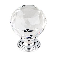 Crystal 1-3/8 Inch Diameter Clear Crystal Cabinet Knob <small>(#TK126PC)</small>