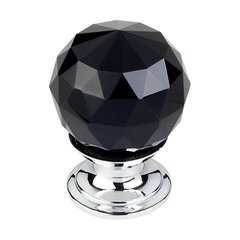 Crystal 1-1/8 Inch Diameter Black Crystal Cabinet Knob <small>(#TK115PC)</small>