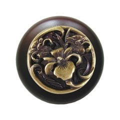 Floral 1-1/2 Inch Diameter Antique Brass Cabinet Knob <small>(#NHW-728W-AB)</small>