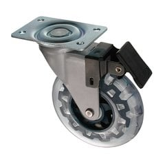 Furniture Caster With Swivel & Brake- Royal Blue & Clear