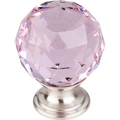 Crystal 1-3/8 Inch Diameter Pink Crystal Cabinet Knob