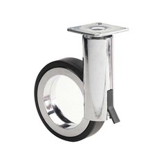 Caster with Swivel and Brake - Black and Chrome