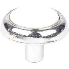 Yaletown 1-1/4 Inch Zinc Die Cast Knob - Polished Chrome / White Ceramic