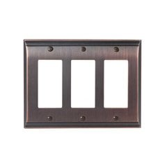 Candler Threee Rocker Wall Plate Oil Rubbed Bronze