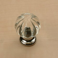 Tahoe 1-1/4 Inch Diameter Clear/Polished Chrome Cabinet Knob
