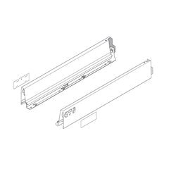 "Tandembox N-16"" Drawer Profile Left/Right Stainless Steel"