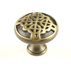 Highlander 1-3/16 Inch Diameter Weathered Brass Cabinet Knob