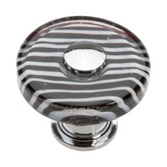 Glass 1-1/2 Inch Diameter Polished Chrome Cabinet Knob