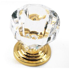 Kristal 1-3/8 Inch Diameter Acrylic/Brass Cabinet Knob <small>(#82104)</small>
