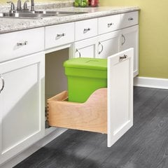 4WCSC Single Pullout Compost Container Green/Wood