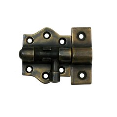 Surface Bolt with Round Backplate 2-1/8 inch Long - Antique Brass
