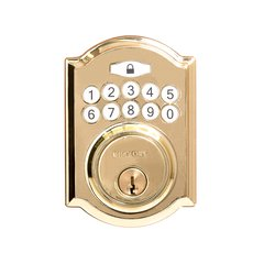 Traditional Electronic Keypad Deadbolt Grade 3 Pol. Brass <small>(#HH075772-PB)</small>