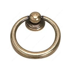 Povera 1-9/16 Inch Diameter Burnished Brass Cabinet Ring Pull