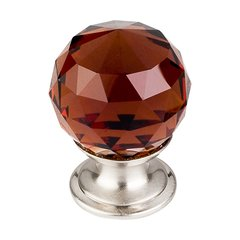 Crystal 1-1/8 Inch Diameter Wine Crystal Cabinet Knob <small>(#TK121BSN)</small>