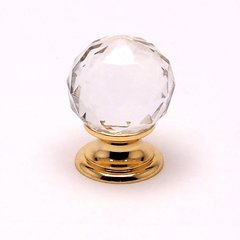 Europa 1-3/16 Inch Diameter Faceted Crystal Ball/Gold Cabinet Knob