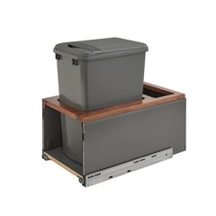 Legrabox Single Trash Pullout 50 Quart Walnut/Gray