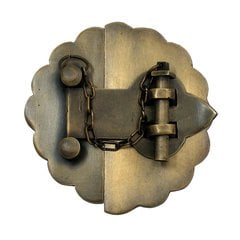 "Latch with Scalloped Backplate 3-1/2"" Dia - Antique Brass"