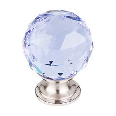 Crystal 1-3/8 Inch Diameter Light Blue Crystal Cabinet Knob <small>(#TK114BSN)</small>