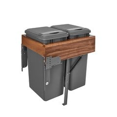 4WCTM Double Trash Pullout 50 Quart Walnut/Gray