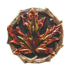 Leaves 1-1/4 Inch Diameter Brass Hand Tinted Cabinet Knob