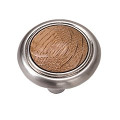 First Family 1-1/4 Inch Diameter Oak/Satin Chrome Cabinet Knob