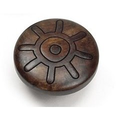 Tonga Round Wood Sun Knob 1-3/8 inch Diameter Walnut