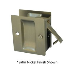 Pocket Door Lock Passage 2-1/2 inch x 2-3/4 inch Satin Nickel Black