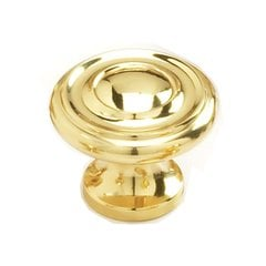 Solid Brass Traditional Designs 1-1/4 Inch Diameter Polished Brass Cabinet Knob