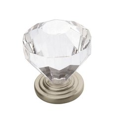 Traditional Classics 1-1/4 Inch Diameter Crystal/Satin Nickel Cabinet Knob <small>(#BP14303-CSG)</small>