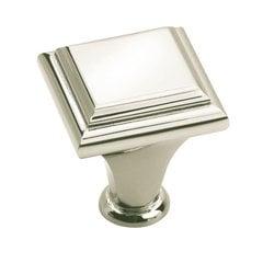 Manor 1 Inch Diameter Polished Nickel Cabinet Knob
