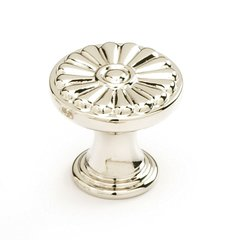 Montcalm Forged Solid Brass 1-3/8 Inch Diameter Polished Nickel Cabinet Knob