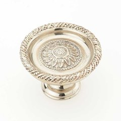 Sunflower 1-3/4 Inch Diameter White Brass Cabinet Knob
