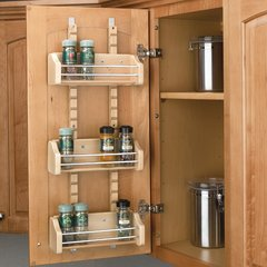 Adjustable Door Mount Spice Rack 21 inch Wood