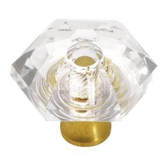 Crystal Palace 1-5/16 Inch Diameter Crystal Acrylic/Polished Brass Cabinet Knob