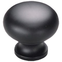 Country 1-1/4 Inch Diameter Flat Black Cabinet Knob