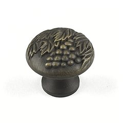 Vineyard 1-3/8 Inch Diameter Antique Light Brass Cabinet Knob