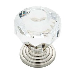 Design Facets 1-7/16 Inch Diameter Satin Nickel & Clear Cabinet Knob