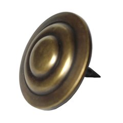 "Round Three-Tier Clavo 1-1/2"" Dia - Antique Brass"