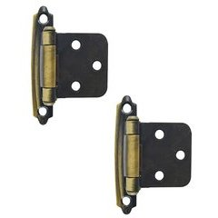 Variable Overlay Hinge 1-13/16 Inch Width - Antique Brass - Pair