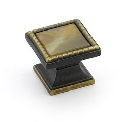 "Kingsway Square Knob 1-1/4"" Dia Ancient Bronze /Chapparal <small>(#21-ABZ-CL)</small>"