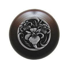 Floral 1-1/2 Inch Diameter Brilliant Pewter Cabinet Knob <small>(#NHW-728W-BP)</small>